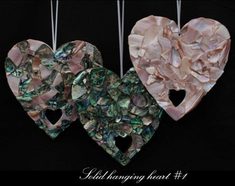 New Zealand Paua/Mussel shell embellished hanging heart