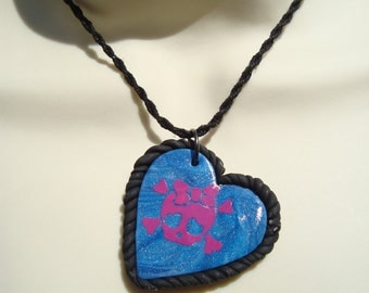 Skull and Crossbones Necklace Swirl Heart Pendant with Girly Skull  | Skull and Crossbones Necklace | Skull Necklace | Punk | Hemp Rope