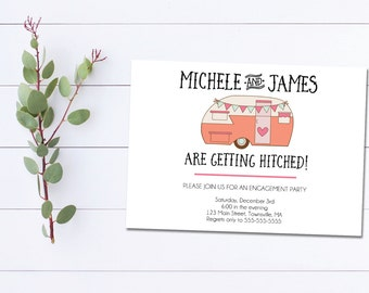 Getting Hitched Engagement Party Invitation, We're Engaged Invite, Printable Engagement Invitation, Camper Invitation