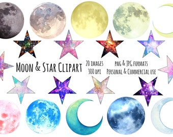 Moon and Stars Clipart, Moon png Stars png Galaxy Clipart, Space Clipart, Space Digital Download Stars and Moons Vector, Commercial Use
