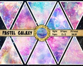 Pastel Galaxy Digital Paper, Galaxy Scrapbook paper, Pastel Nebula Digital Paper, Commercial Use, Universe Scrapbook Paper Stars Kawaii
