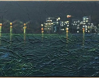 Night by The Lake Contemporary ART Modern Mixed Media Original Acrylic on Wood