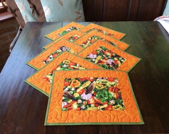 Eight Quilted Patchwork Vegetable Placemats