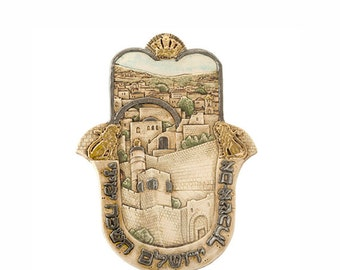 Ceramic Hamsa with Jerusalem Motif and Hebrew Inscription