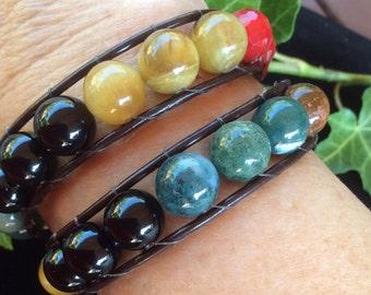 Leather Wrap Multi Gemstone Bracelet Double Wrap Bracelet