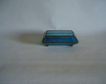 Vintage Stain Glass Jewelry Box Etched Trinket