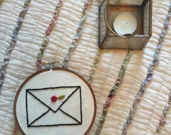 Envelope Embroidered Hoop Art