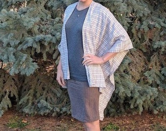 Gray, Brown, and White Poncho Shawl