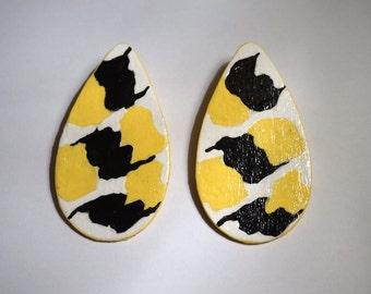 Hand Painted Wood Earrings, Handmade Earrings