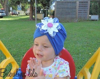 Cap blue turban with flower girl baby