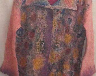 Wool women's coat Felted coat NUNOFELTING WOMEN'S COAT Felted wool Feling Felt Women's clothing Felted coat Wool coat Pink-purple range coat
