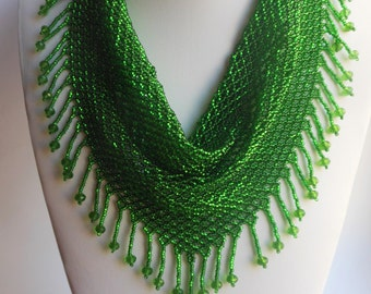 Beaded scarf Necklace scarf Necklace beaded Bead weaving Green scarf Green beaded necklace Necklace gift  Jewelry beaded