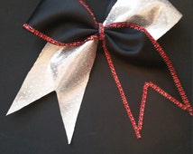 Black and Silver Cheer bow with red rhinestone