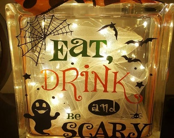 Halloween Lighted Glass Block