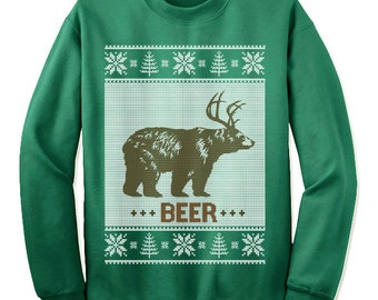 Ugly Christmas Bear Beer Deer Sweater Sweatshirt. Funny Ugly Tacky Christmas Sweater. Ugly Xmas Sweater.