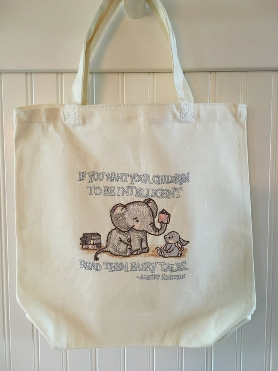 Fairy tale canvas tote bag einstein quote machine embroidery