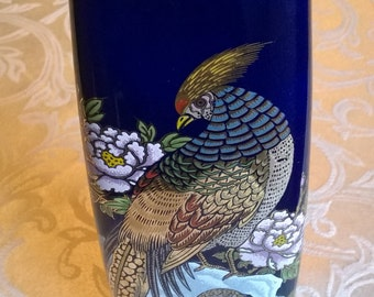 Vintage Japanese Interpur Cobalt Blue Pheasant Vase with Gold Trim Vintage Blue and Gold Japanese Pheasant Vase