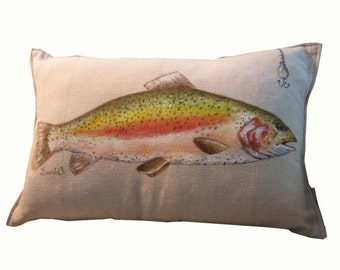 RAINBOW TROUT PILLOW Cover, Decorative Fish Throw Pillow, Sham With Lure