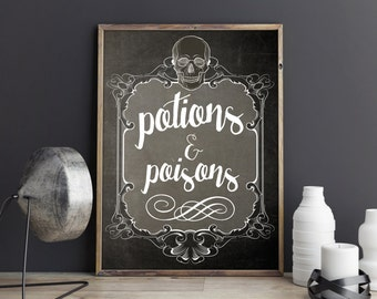 Potions and Posions Printable, Halloween Decor, Halloween Art, Halloween Printable Decor, Halloween Poster, Halloween Party Decor