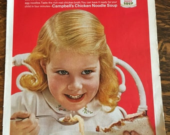 Lot of 2 Campbell's Chicken Noodle Soup ads from 1962, 63 LIFE magazines