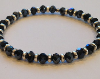 Midnight 6mm Crystal Faceted Beads with Silver Spacers