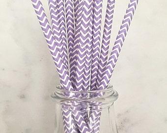 Light Purple Chevron Stripped Paper Straws (25)