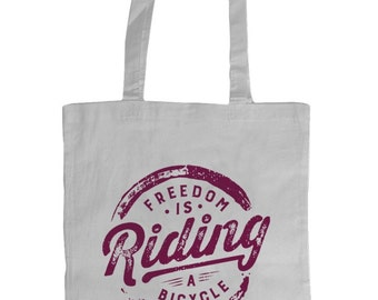 Freedom is Riding a Bicycle Tote Bag (White-Plum)