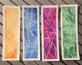 Geometric Watercolour Bookmarks