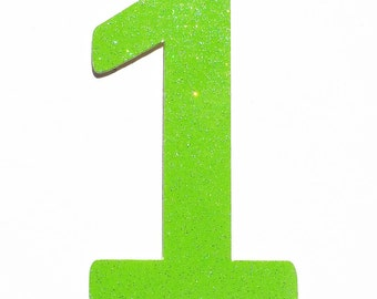 Green Number One, Lime Green One Shape, Number One Shape, Number Cut Outs, One Cut Out, Glitter Number One