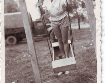 Vintage Photo - Young woman on a swing - Woman photo - Happiness - Vintage Snapshot - Polish Photo - Swing - 1950s Photo