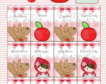 little red riding hood theme candy bar labels and cutouts