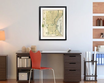 Milwaukee City Map, map prints, map poster, milwaukee poster, vintage city map, milwaukee wisconsin, map photo, city map poster prints