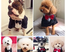 Dog outfit business casual wedding event wear blazer suit set poodle bulldog beagle British style fall