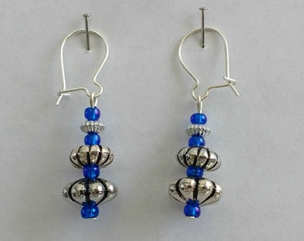 Blue dangle drop earrings, silver plated earring hooks, free organza gift bag