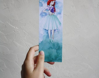 Bookmark Art drawing print, disney princess, Ariel brand page illustration