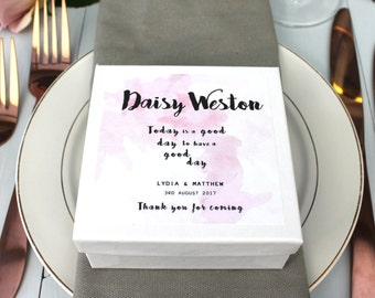 Wedding Favour Place Setting Gift Box, Place Setting Wedding Favour, Personalised Wedding Favour Box