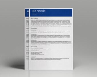 Resume Template, Word Resume Template, CV Template, Curiculum Vitae,  Minimalist Resume,