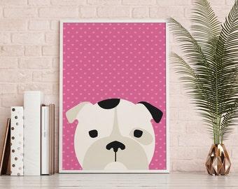 Kinderzimmer Wanddekoration Englische Bulldogge Druck Kinder Zimmer Kunst Bulldog Baby