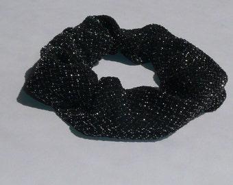 Handmade Hair Scrunchie Silver Black Sparkly Scrunchie Glittery Scrunchie Sparkle Scrunchie Metallic Scrunchie Hair Tie Ponytail Holder