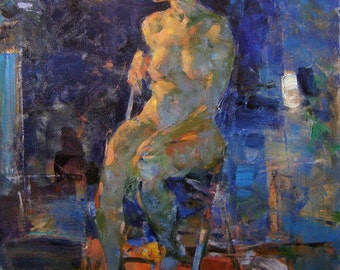 Original Art Oil Painting Nude Woman Model In Art-Studio. Expressive Oil Art Work, Painting Sketch Etude Nude Figure. 2016.