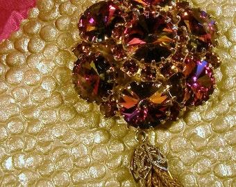 Vintage dark amber rhinestone pendant
