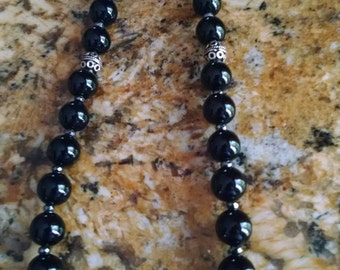 Natural Black Onyx Necklace with Tibetan silver accents