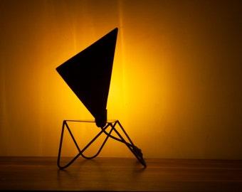 """Triangle"" black metal, copper vintage bulb table lamp"