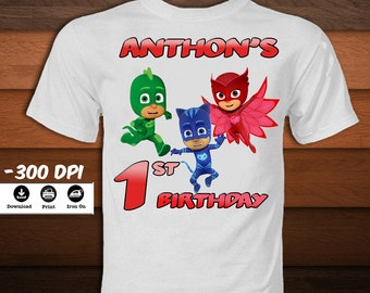 Personalized Pj Masks Iron on Transfer T-Shirt-Printable Pj Masks Birthday Shirt-Pj Masks Birthday party decoration-INSTANT DIGITAL DOWNLOAD