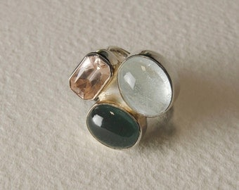 Ring in aquamarine, tourmaline, Citrine and Silver 925%
