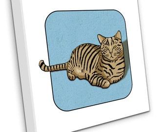 Tabby Cat On Canvas (Blue)