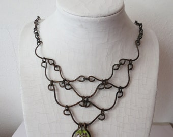Copper and glass bead necklace