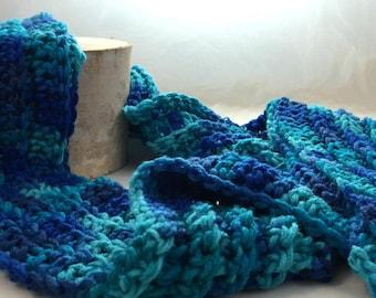 Multi-Colored Blue Scarf