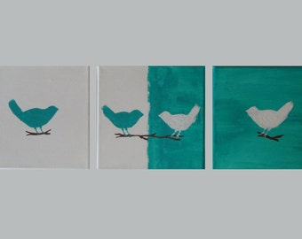 Original painting on Canvas, Acrylic painting, White and turquoise painting, Birds in love,  Minimal art, Trilogy art painting