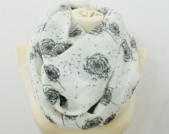 Dandelion infinity scarf, winter scarf, womens, scarves, cowl scarf, loop scarf, circle scarf, infinity, scarf, fall scarf